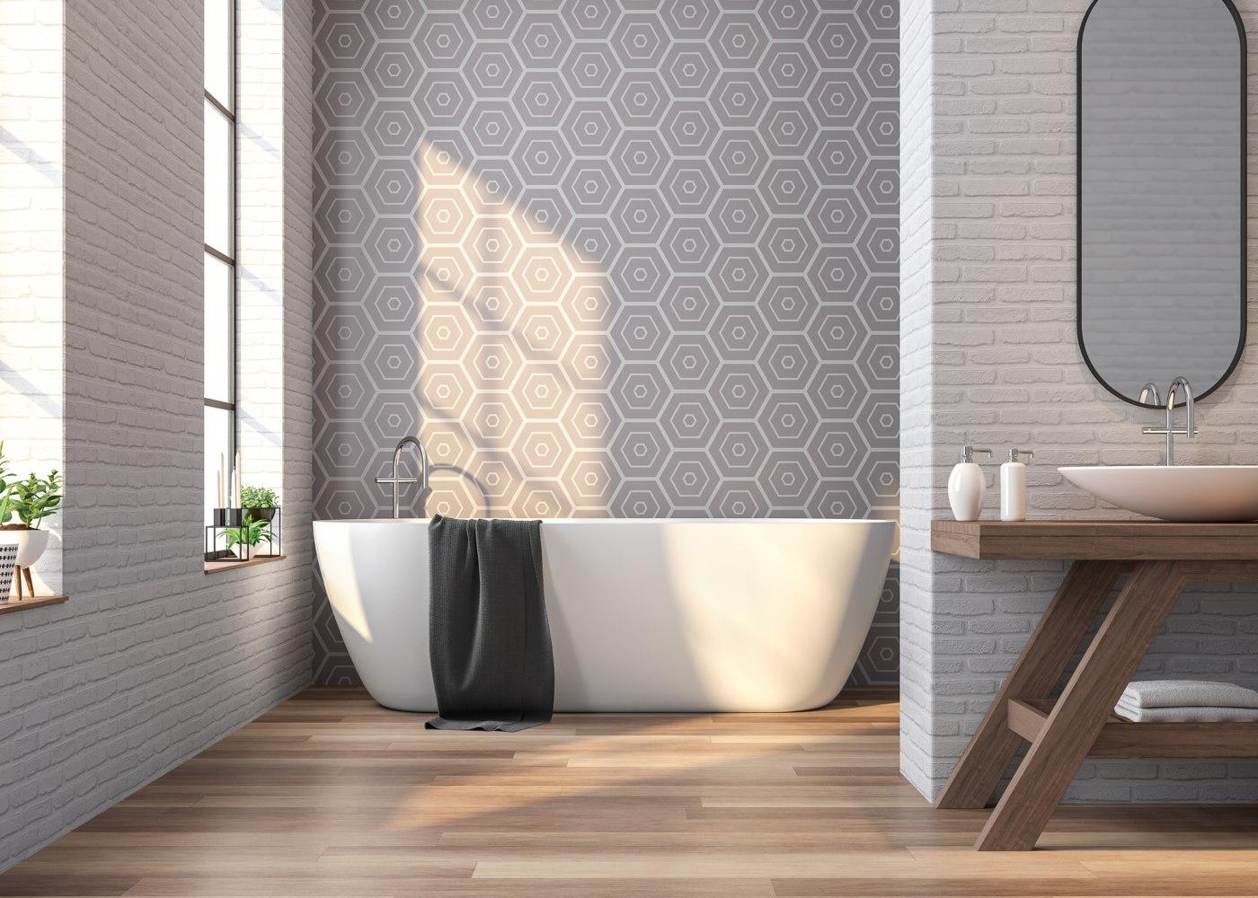 pavimentos de casa de banho em madeira flutuante