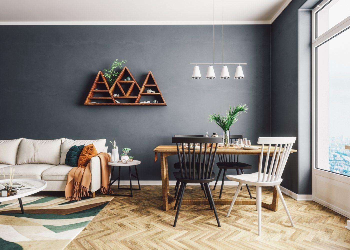 sala de estar e jantar decorada de forma simples