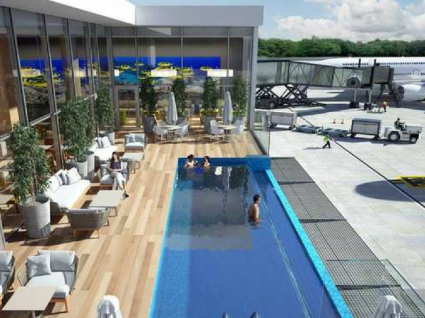 Dê uns mergulhos neste aeroporto com piscina