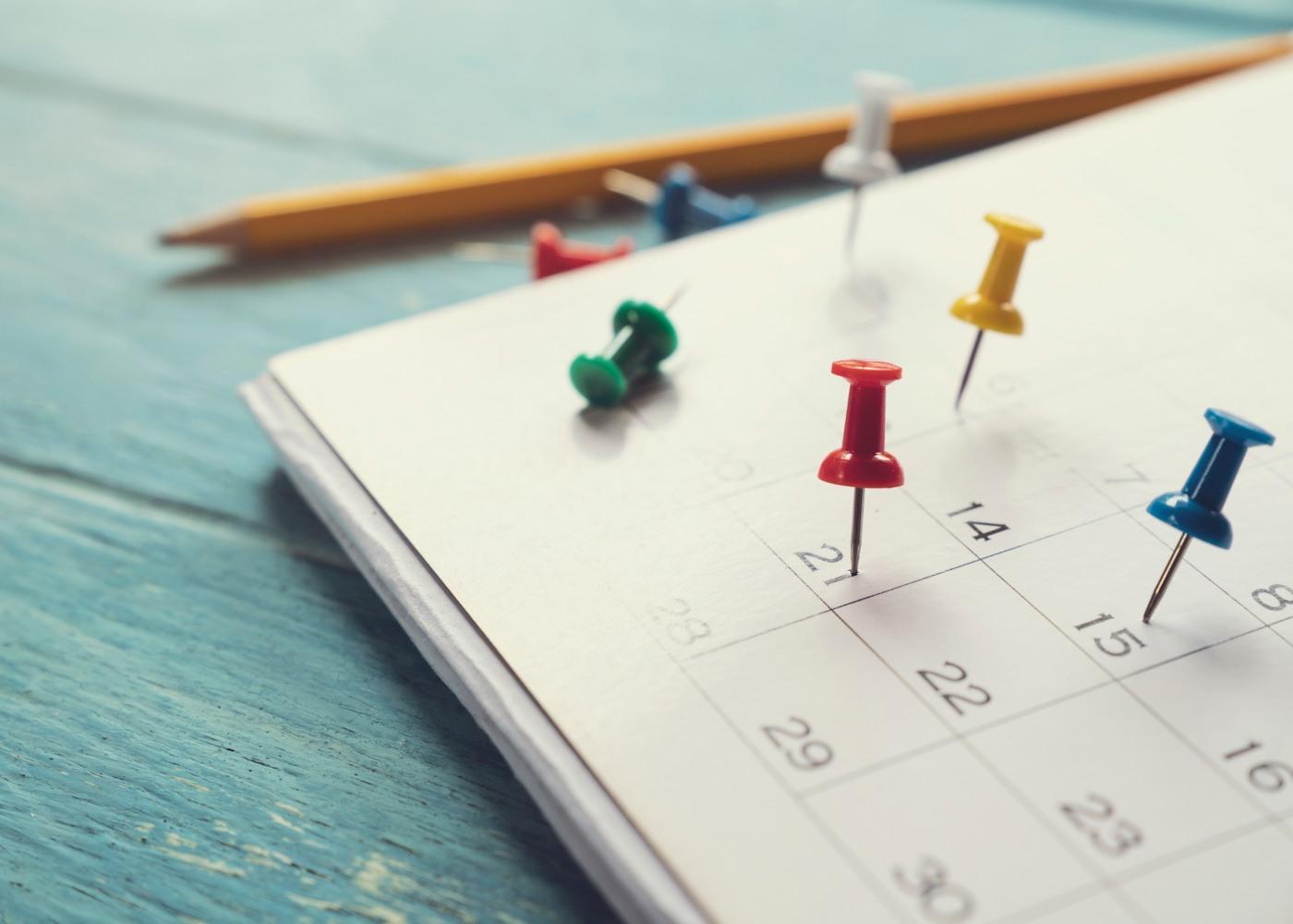 calendário com pins