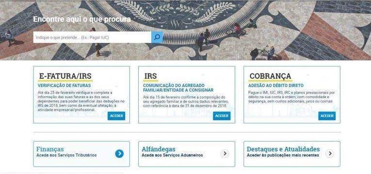 Emitir recibo de renda Portal das Finanças