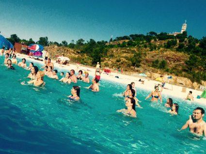 Aspecto da praia artificial de Mangualde