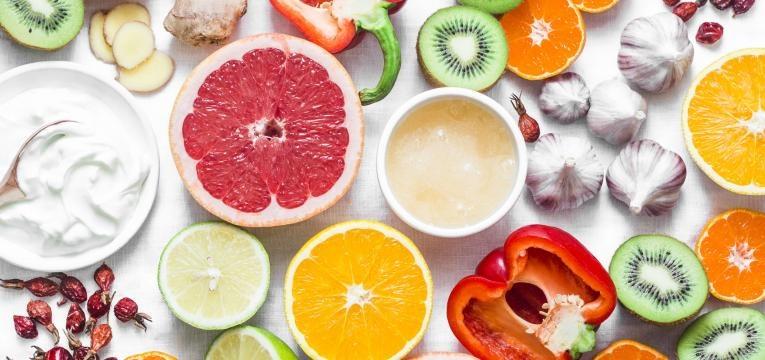 fruta e vegetais maduros