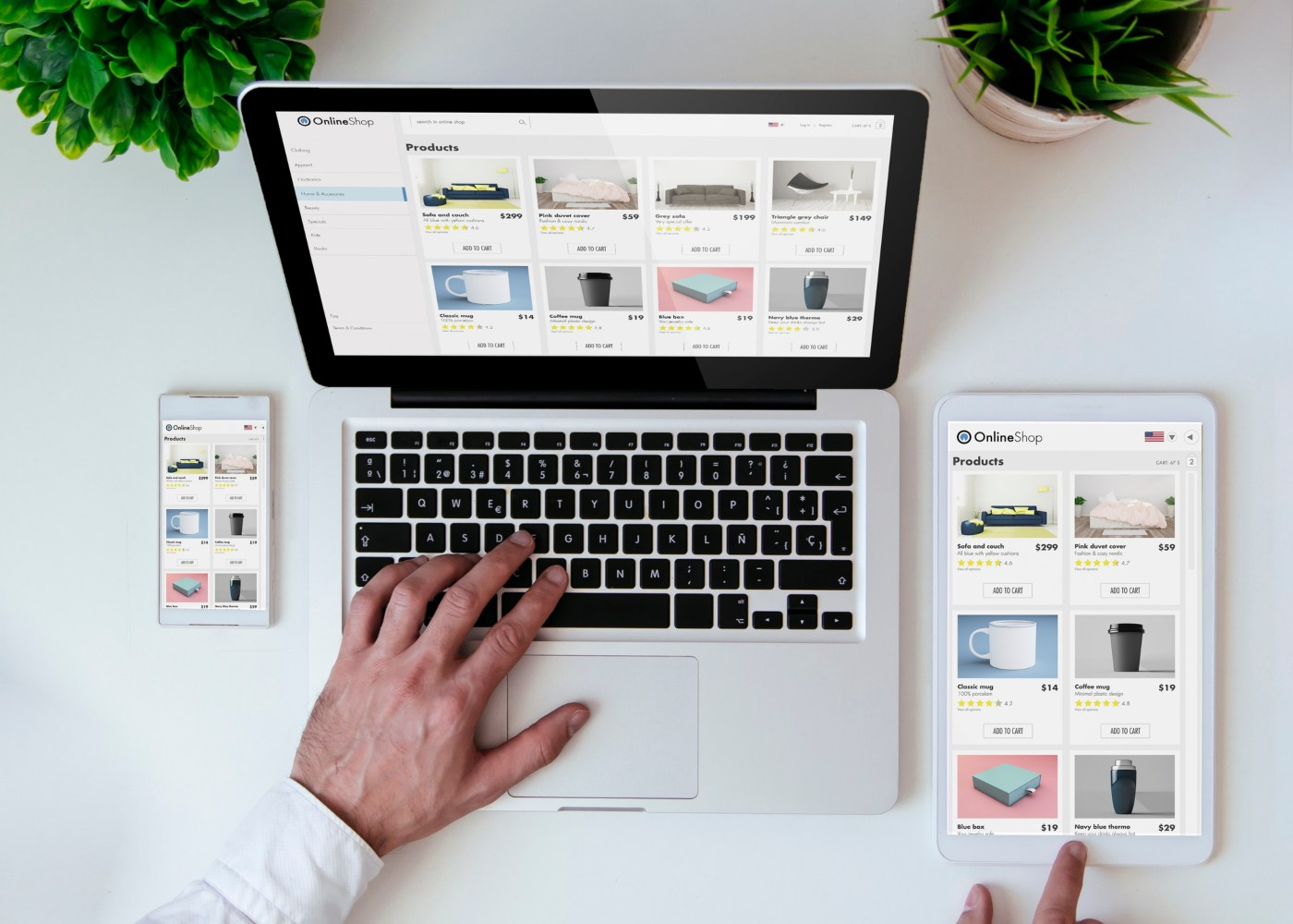 computador e tablet a mostrar página de uma loja online