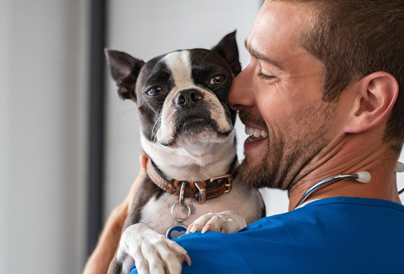 Veterinário com cão ao colo
