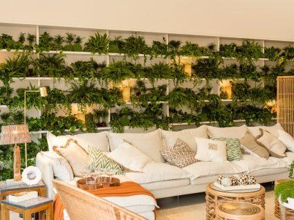 sala de estar kinda home em tons claros e com parede de fundo com plantas