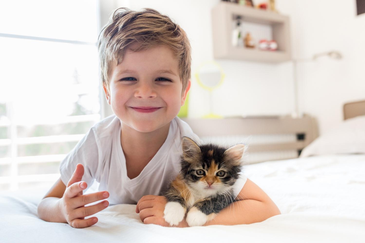rapaz com gato adoptado