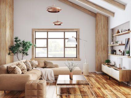 sala de estar moderna em tons bege