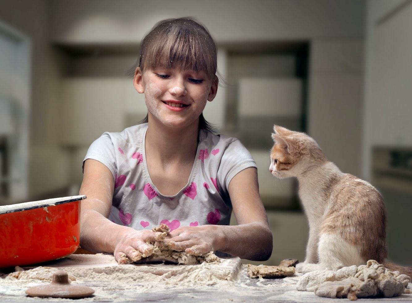 Criança a cozinhar com um gato ao aldo