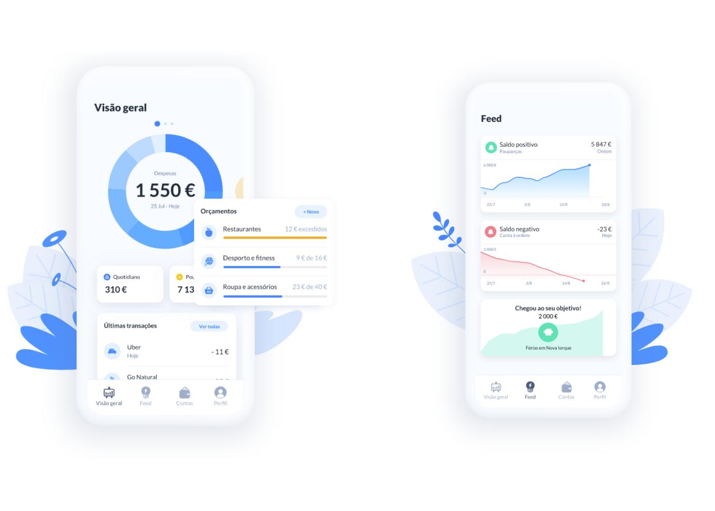 visão geral da app dabox e do feed