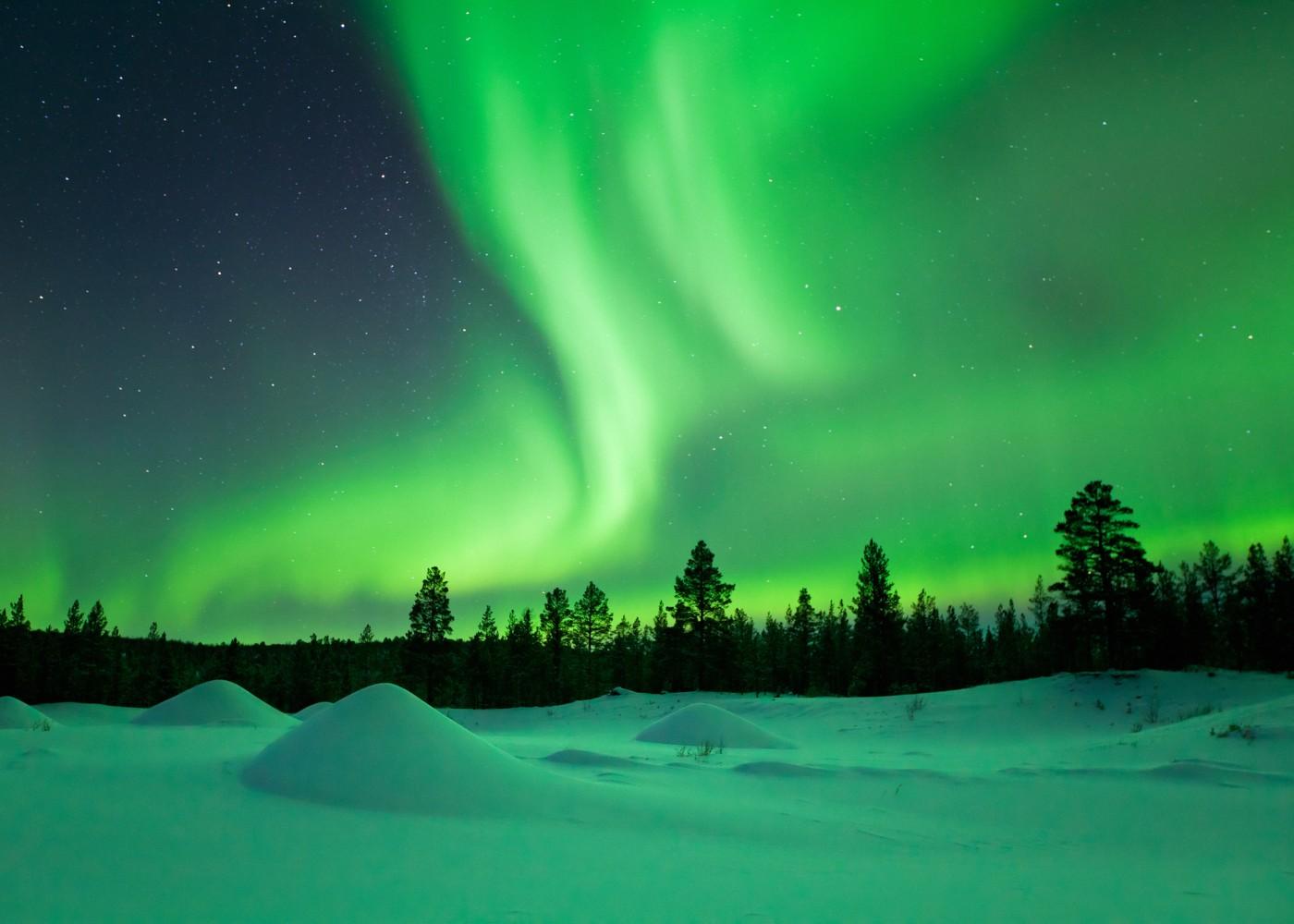 Aurora boreal na Lapónia
