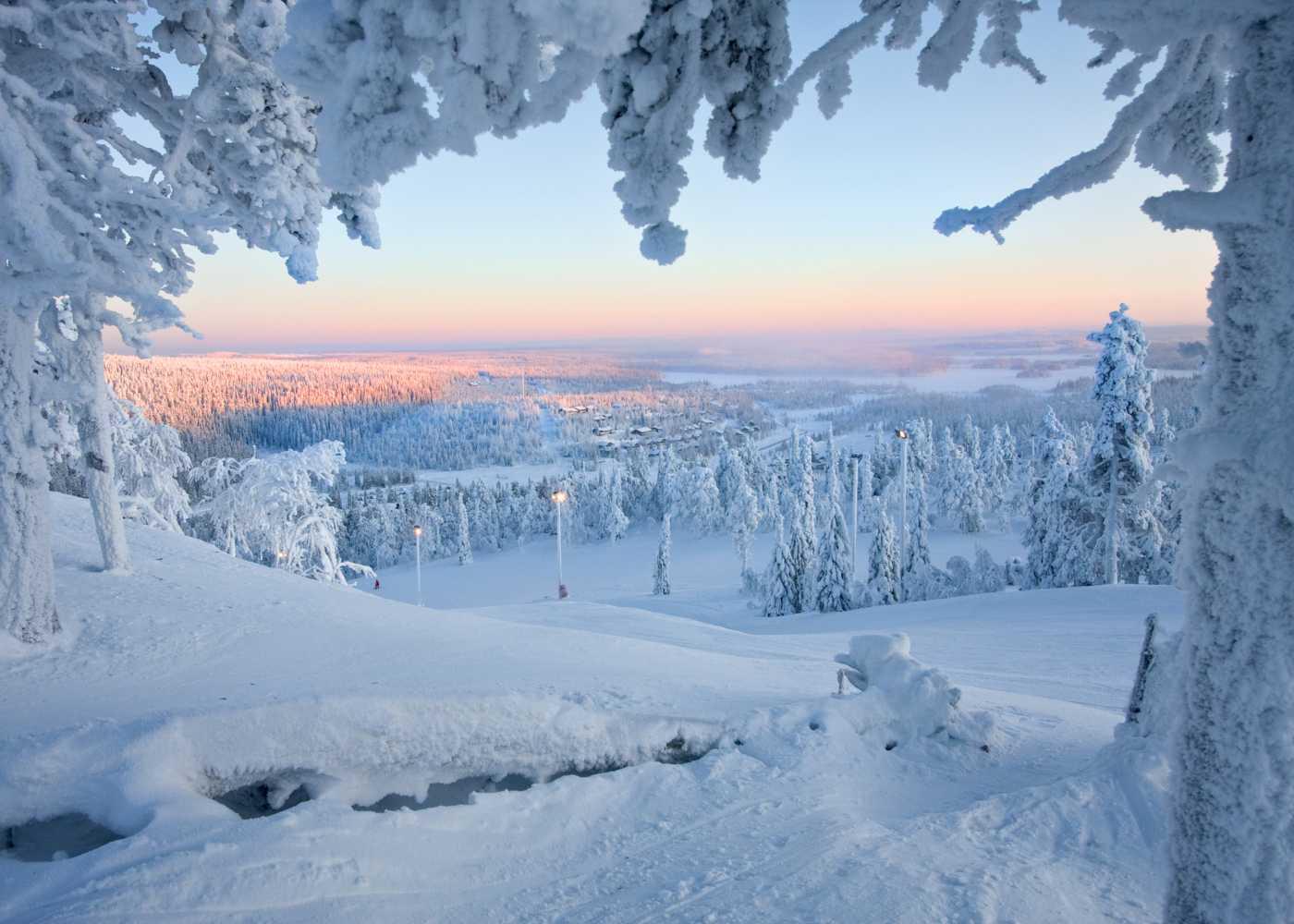 Paisagem de neve na Lapónia