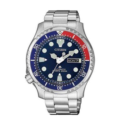 relógio em aço com mostrador azul