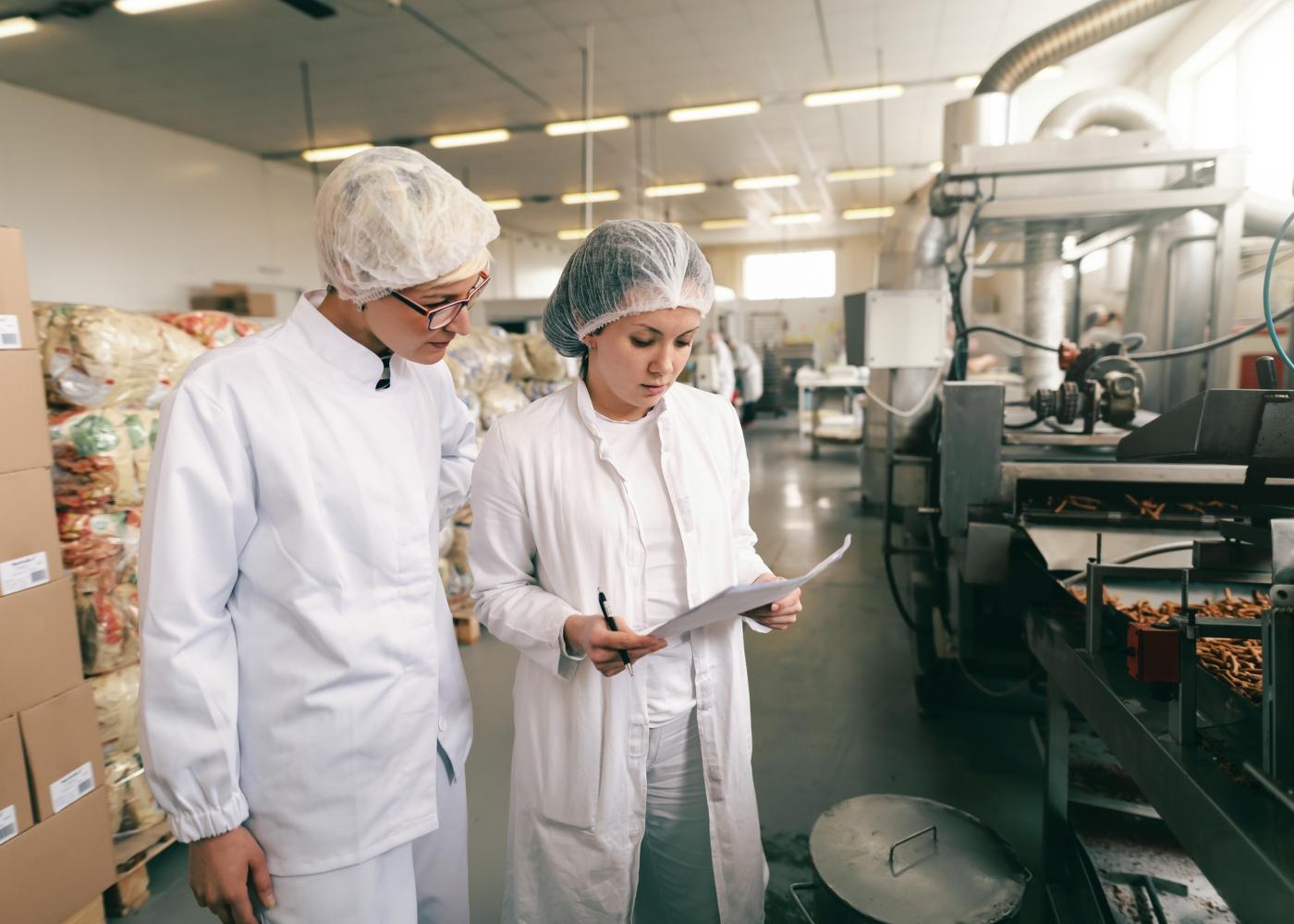 trabalhadoras numa fábrica a verificar produto