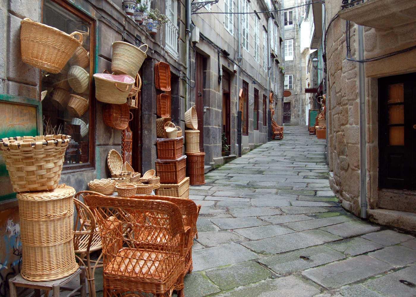 Rua das cestas em Vigo