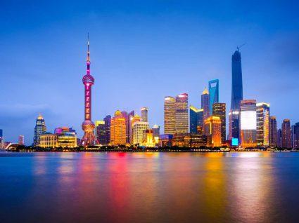 Vista nocturna de Xangai