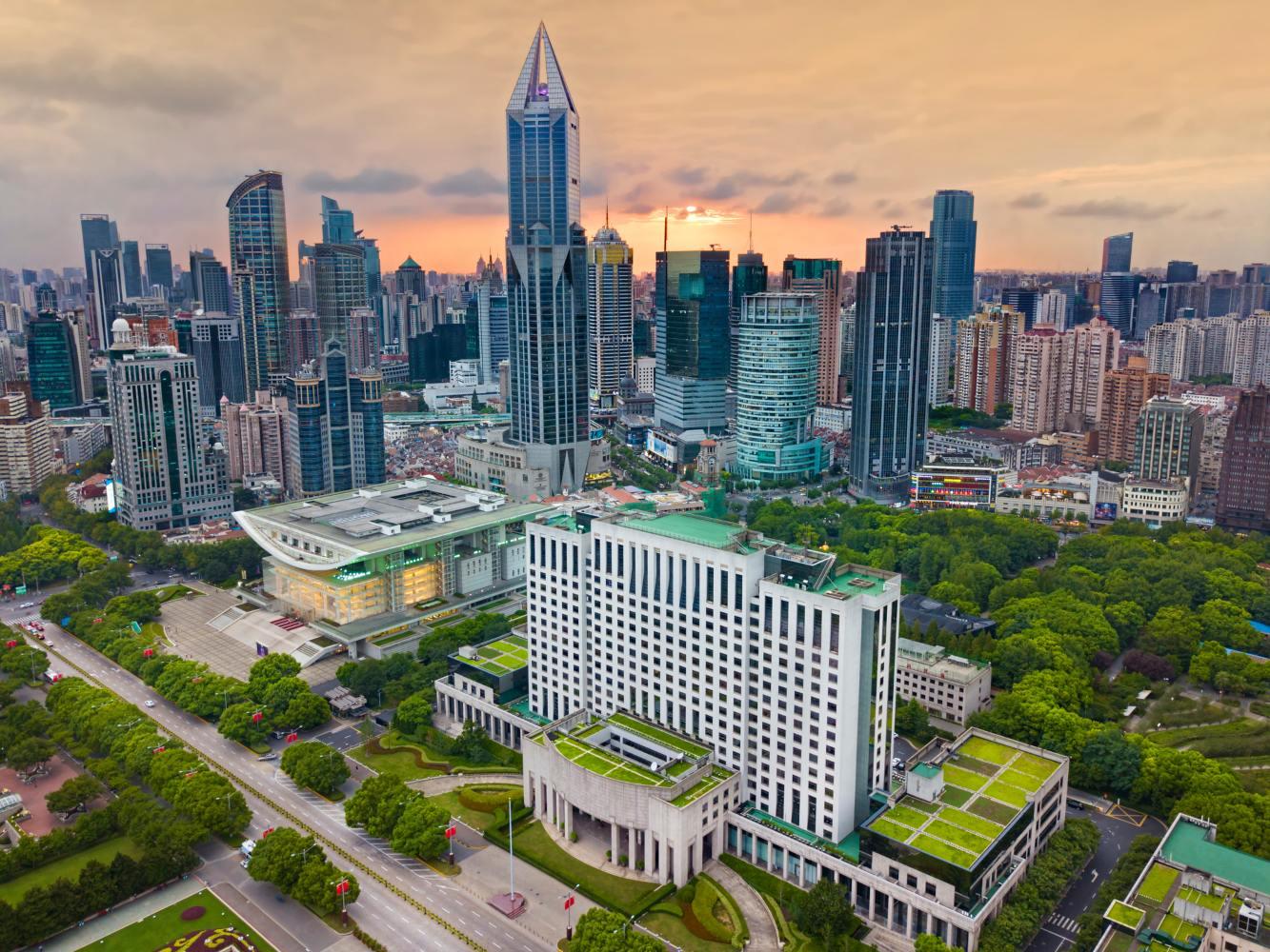 Vista geral do centro de Xangai