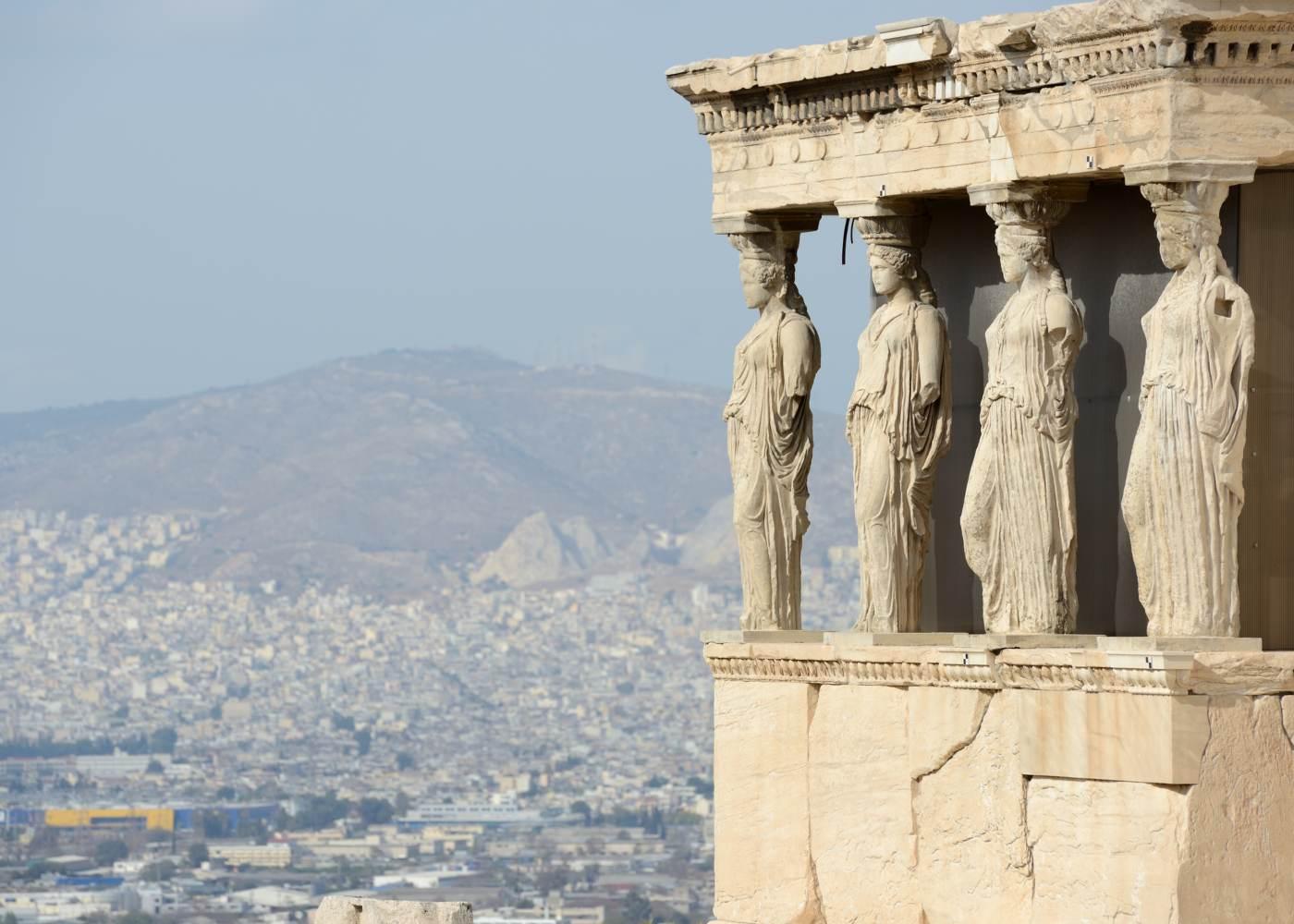 Pormenor do Parthenon em Atenas
