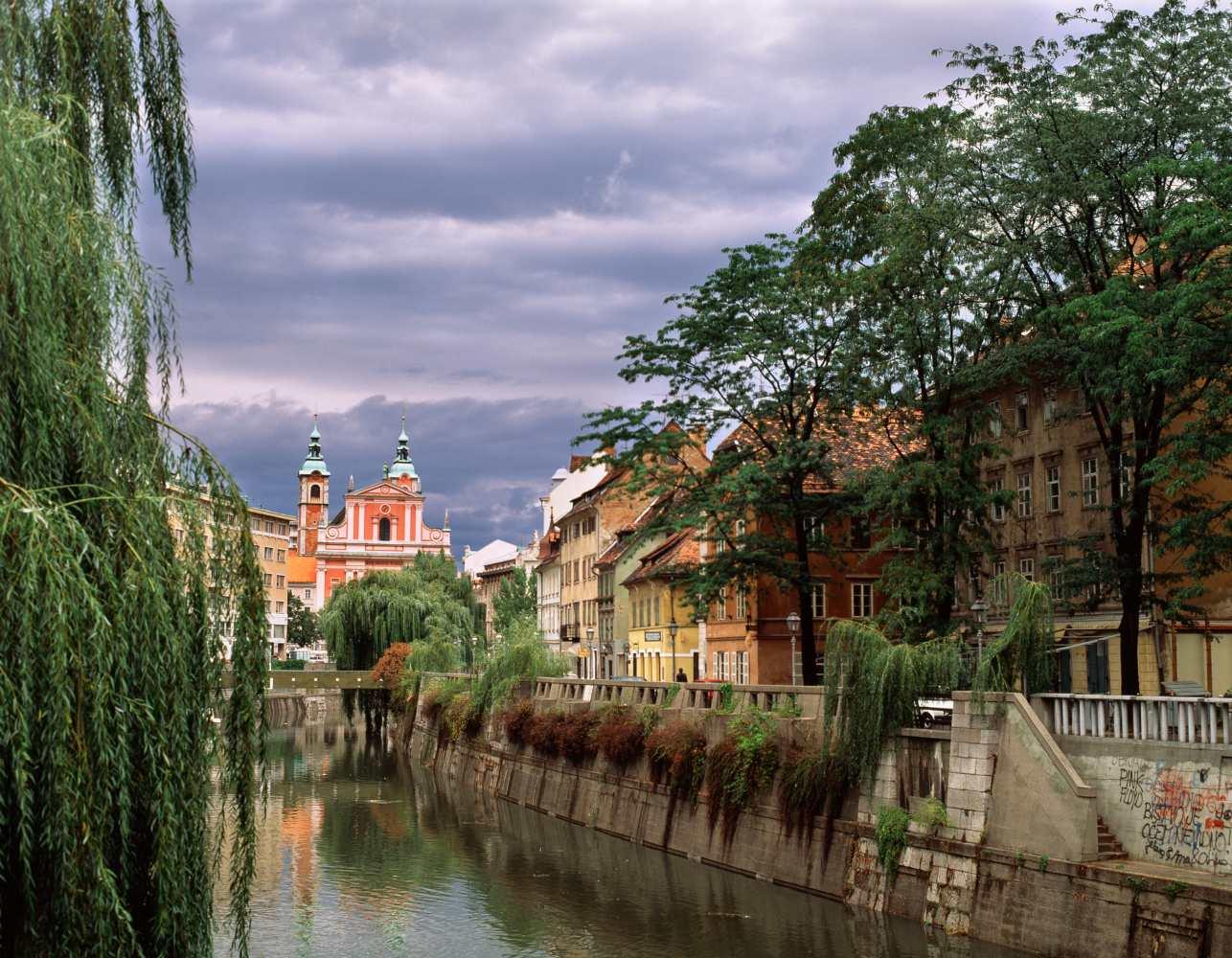 Canal no rio em Ljubljana