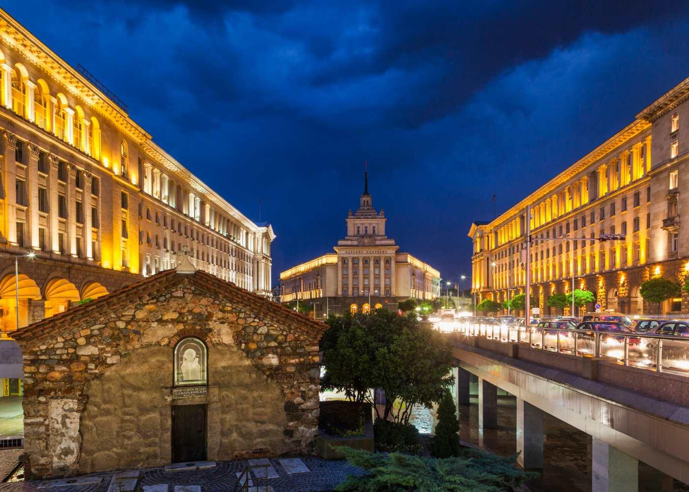 Zona histórica de Sofia na Bulgária