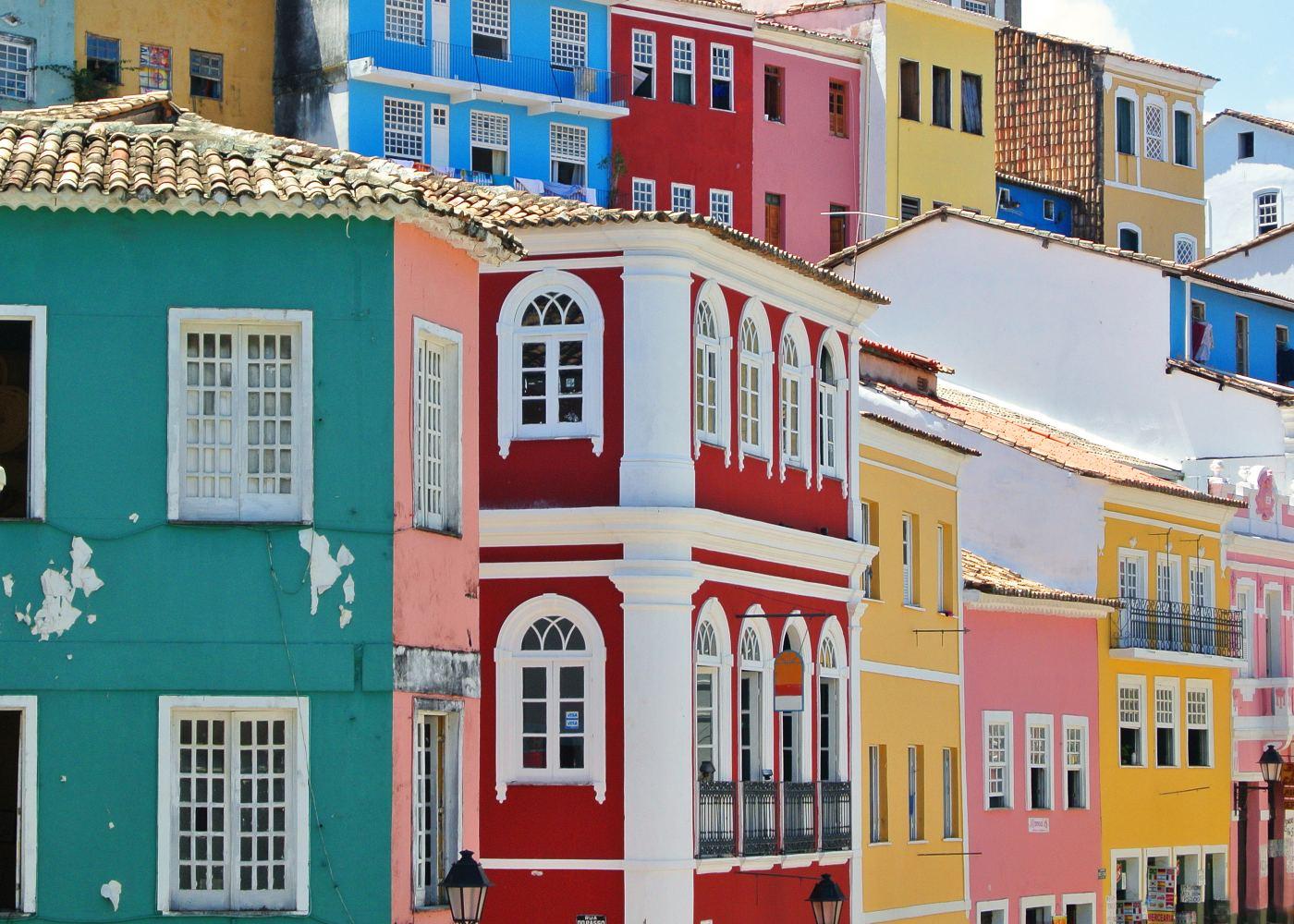Casas coloridas em Salvador da Bahia
