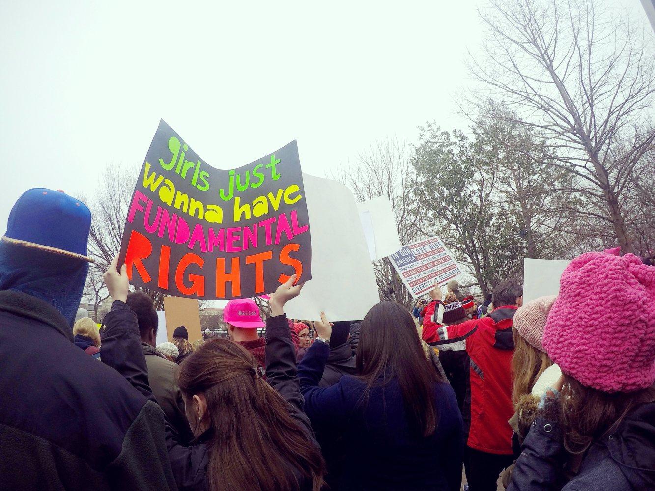 Manifestantes no Dia da Mulher