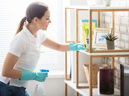 mulher a limpar a sala