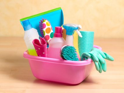 produtos de limpeza para higienizar utensílios domésticos