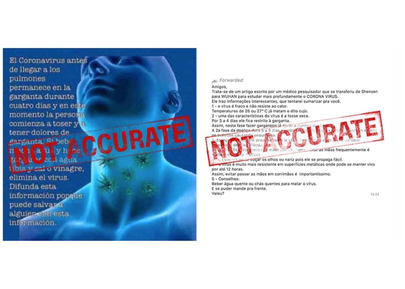 mensagens falsas sobre o coronavirus