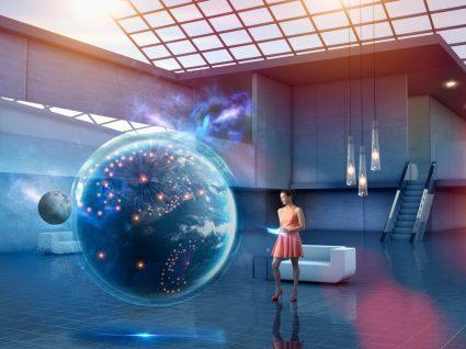 mulher a analisar um globo virtual