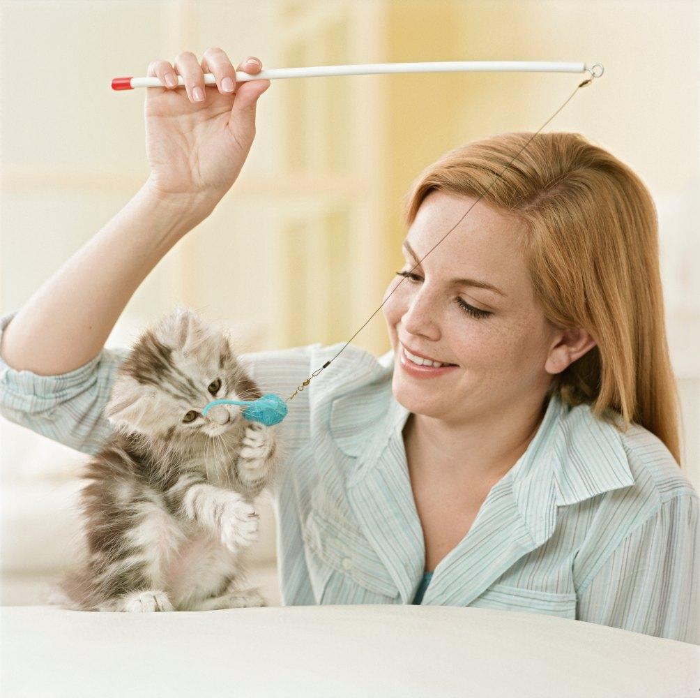 Mulher a brincar com gato