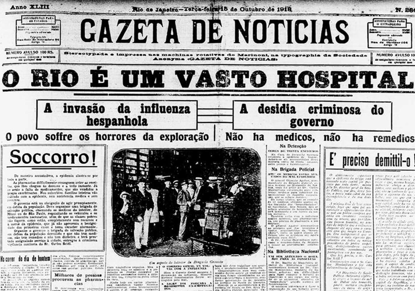 Jornal brasileiro nos tempos da gripe espanhola