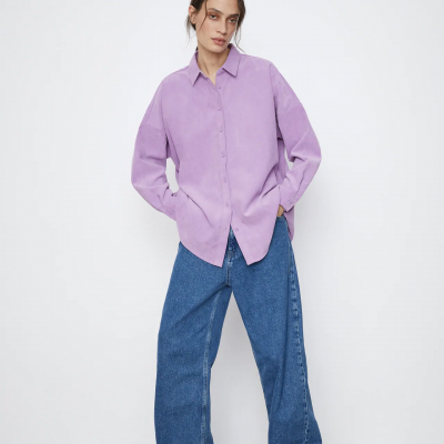 camisa lilás zara