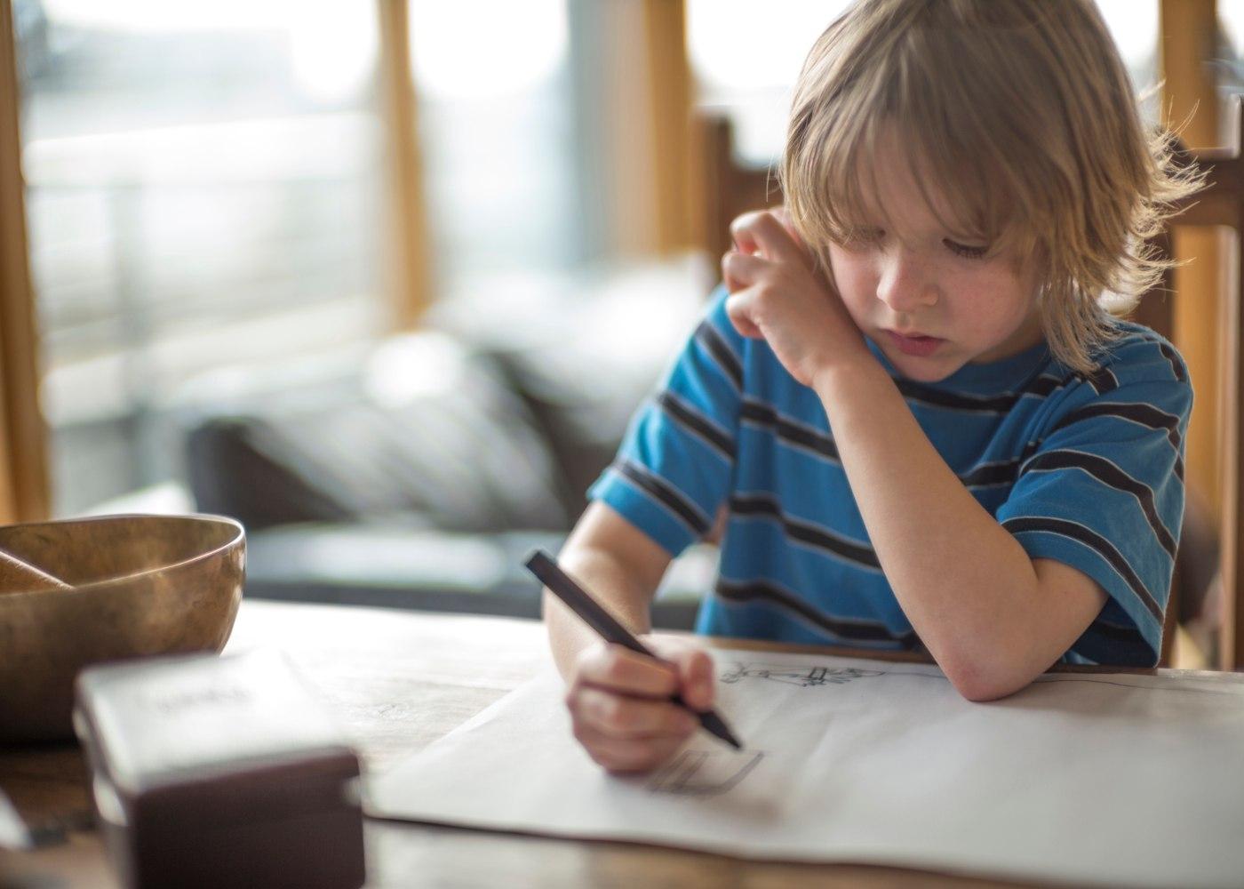 criança a estudar em casa