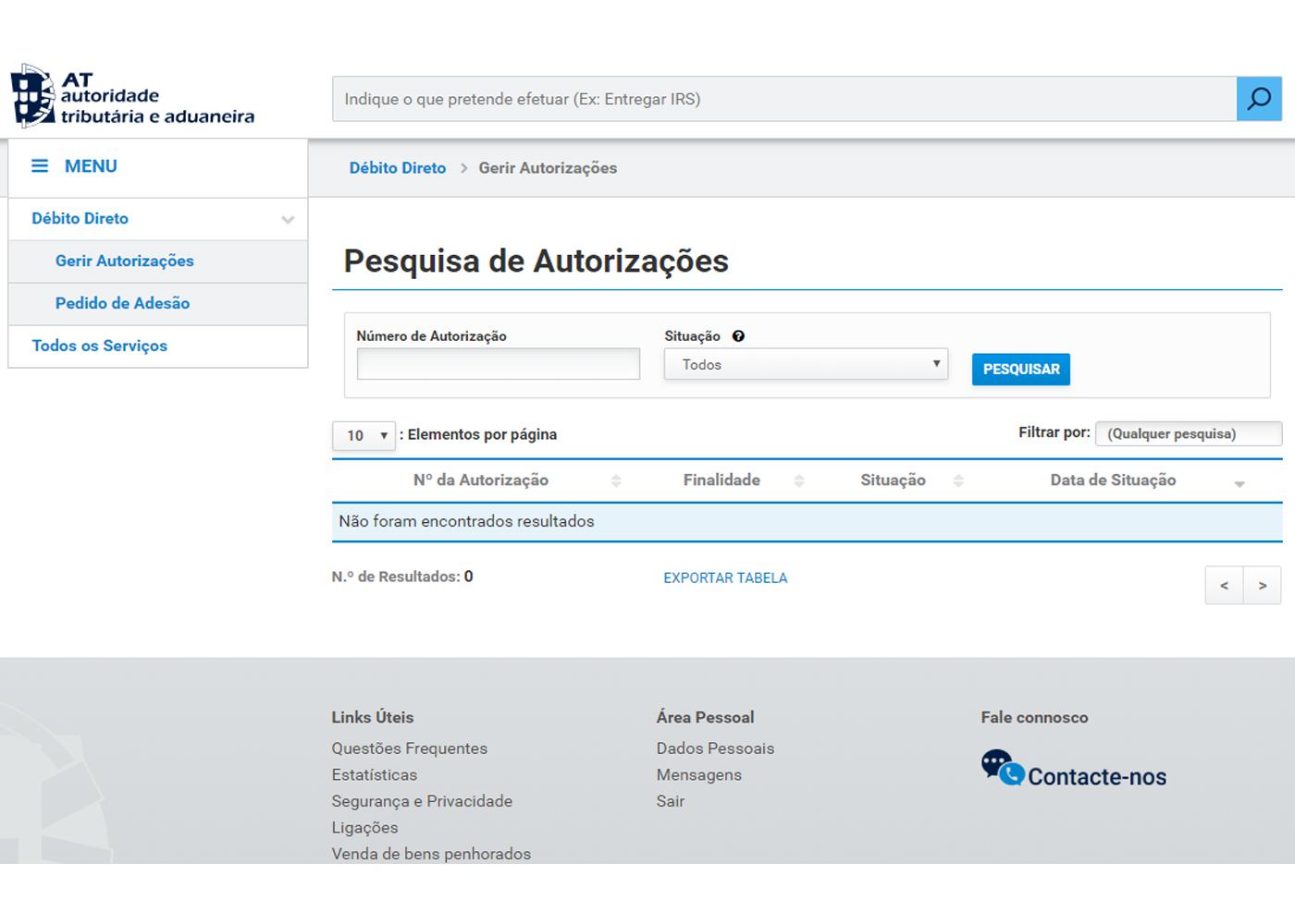 gerir autorizações portal finanças