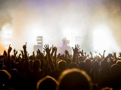 Multidão a assistir a concerto num festival de verão