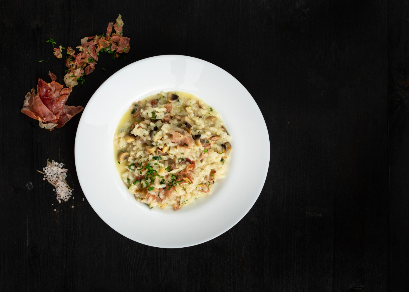 risotto cogumelos e bacon