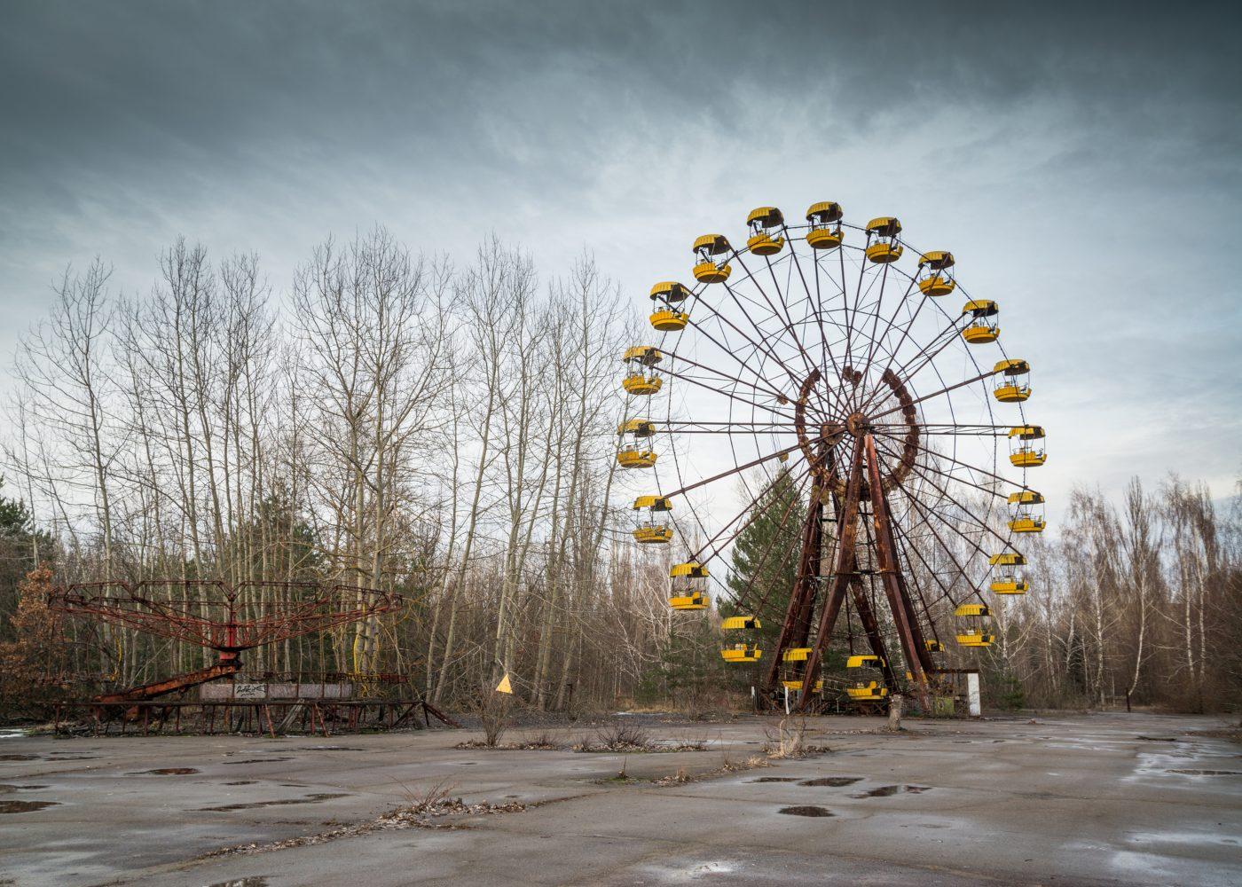 Roda gigante abandonada em Chernobyl