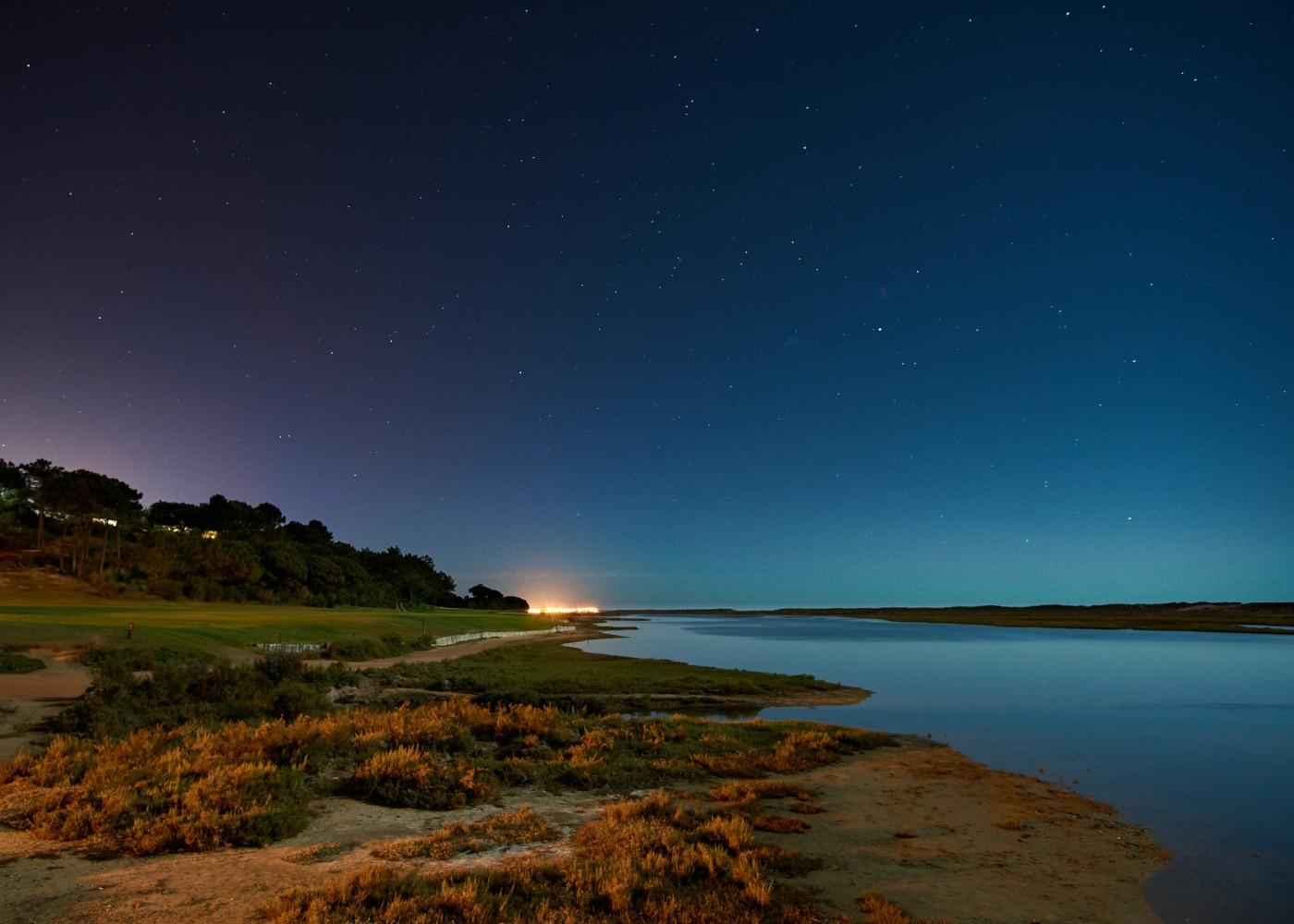 Vista noturna da Ria Formosa