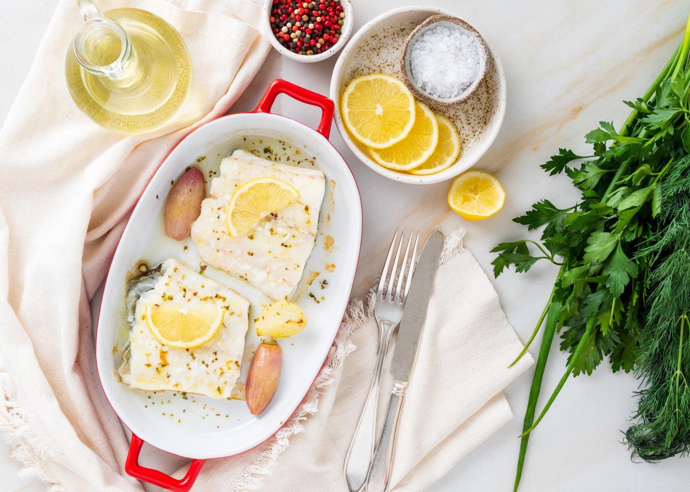 bacalhau assado com limão
