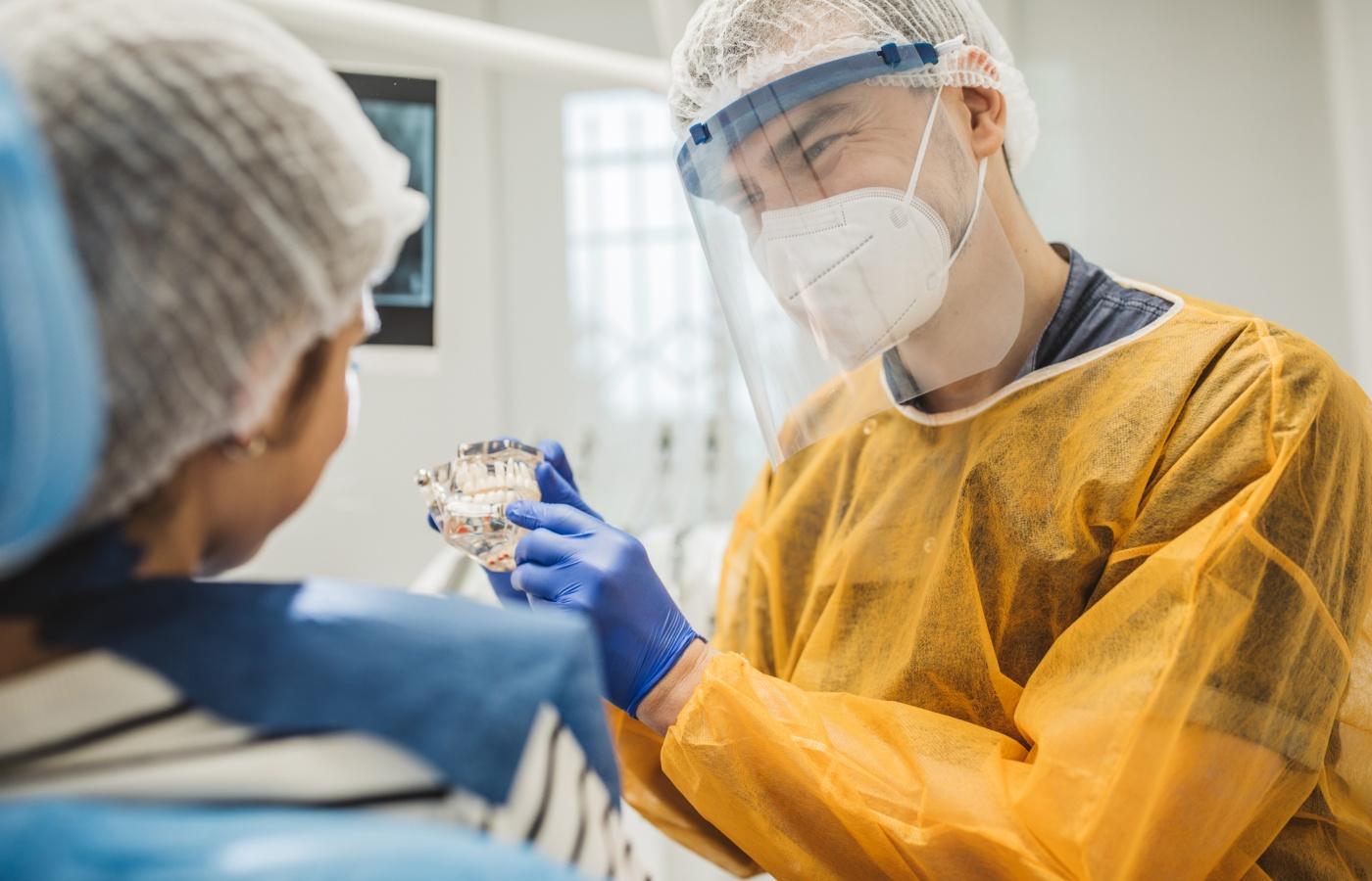 dentista mostra molde de dentição a paciente