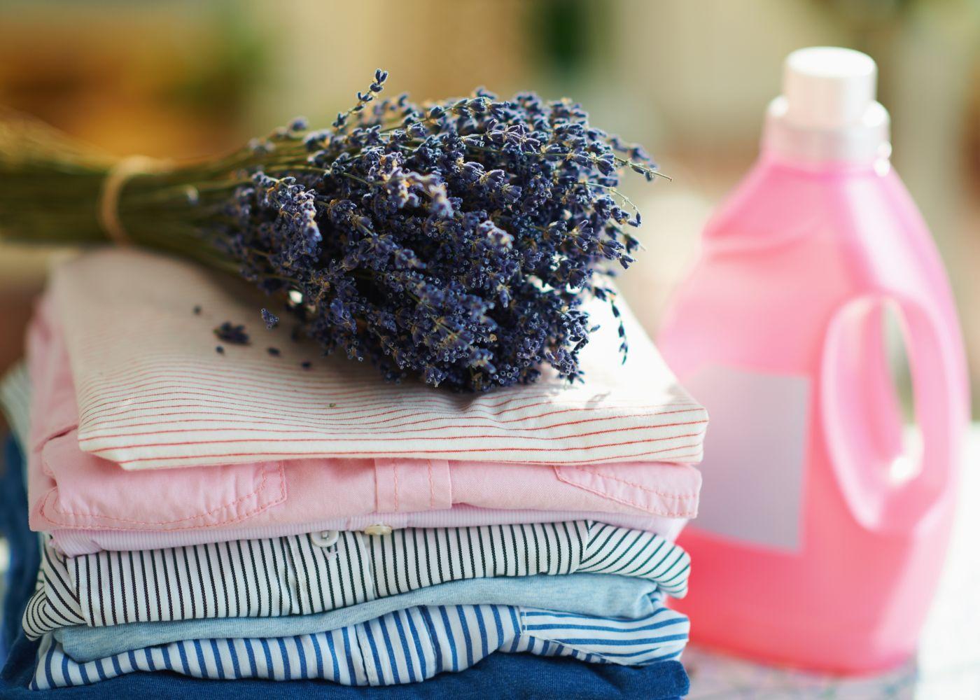 roupa delicada dobrada com ramo de alfazema em cima e detergente ao lado