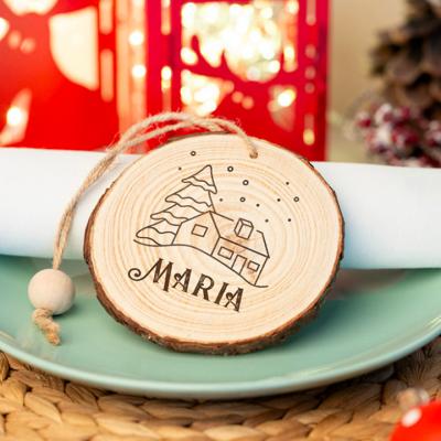 rodela de madeira para decoração de natal