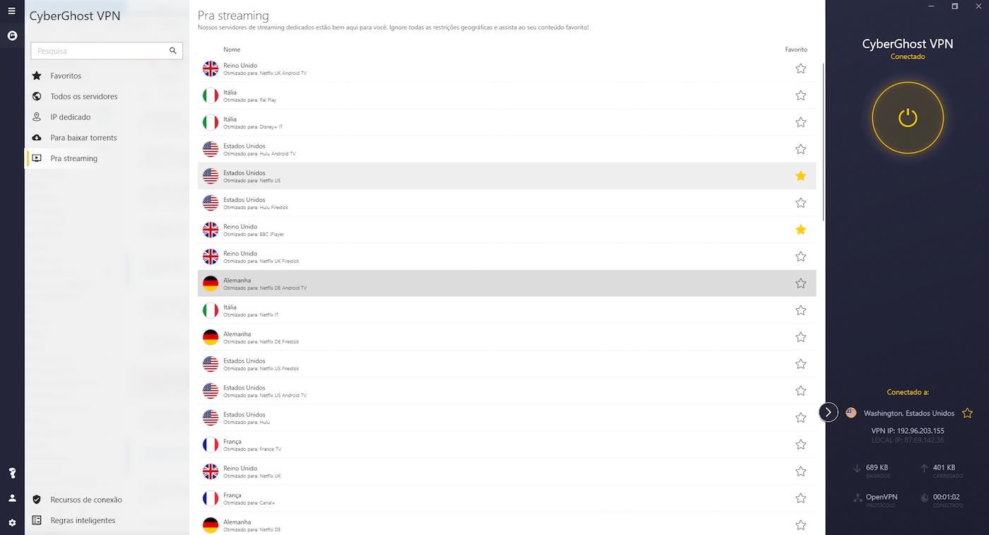 cyberghost von dashboard em português