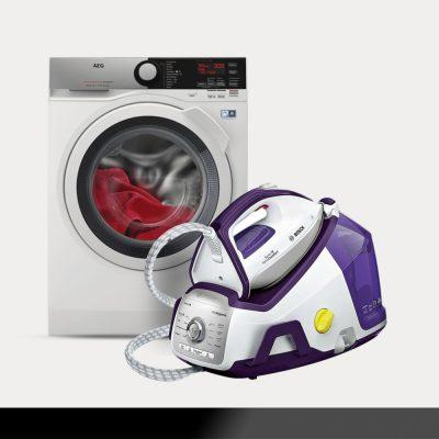 ferro e máquina de lavar roupa