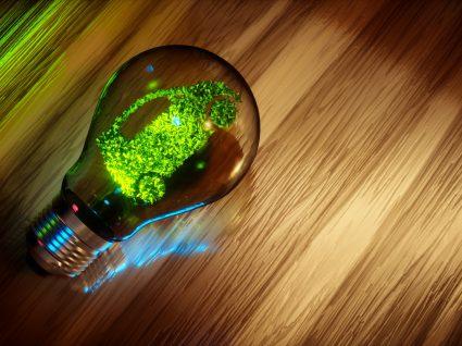 imagem de um carro de folhas dentro de uma lâmpada a representar a mobilidade elétrica