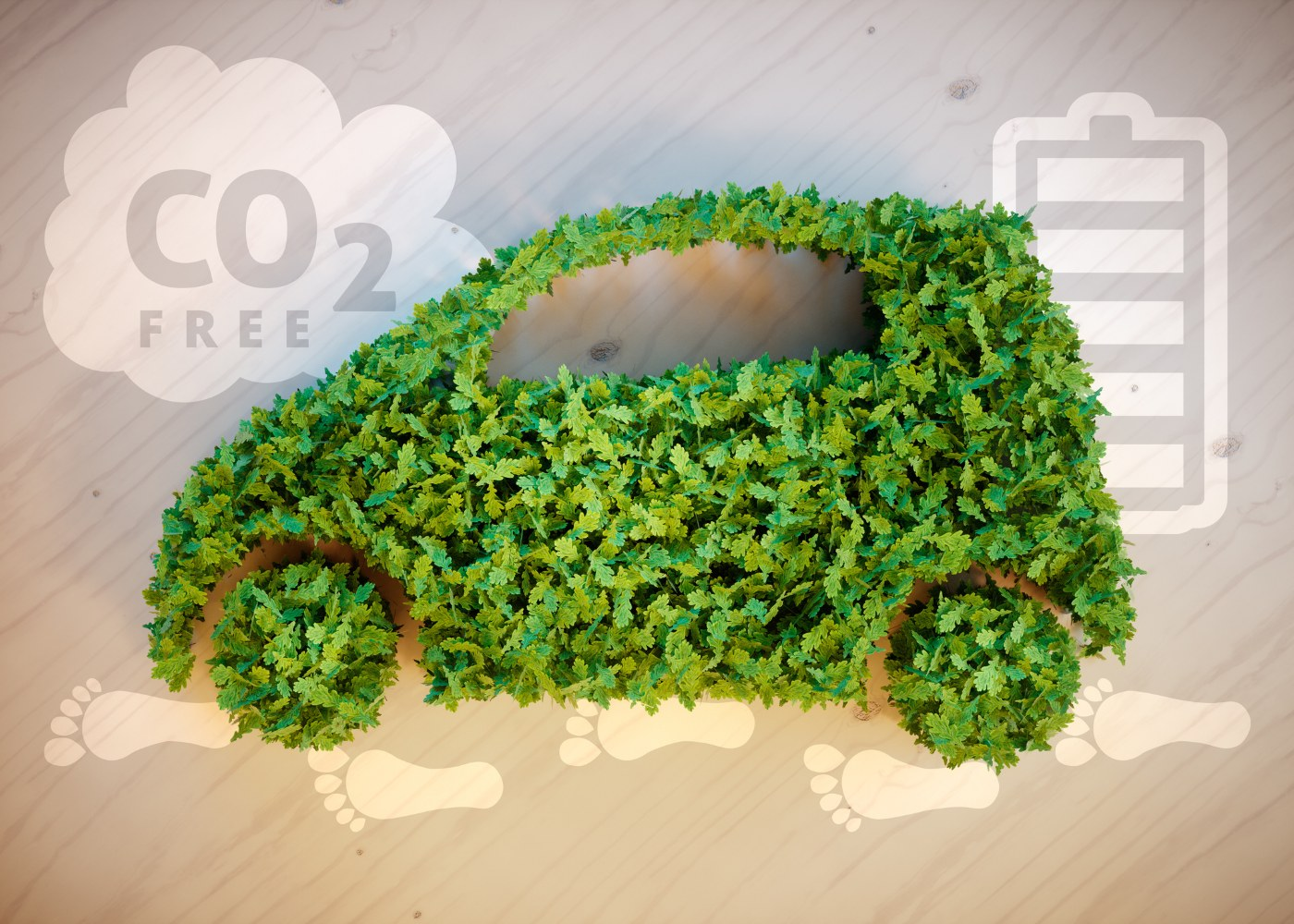 carro feito de folhas verdes para simbolizar combustíveis sintéticos