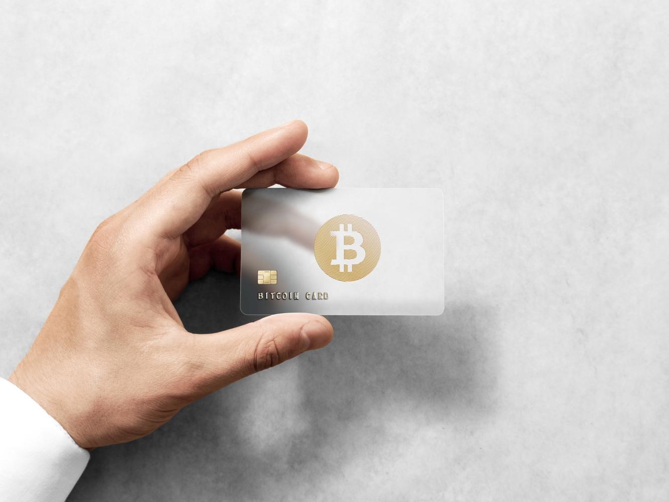 Cartão com o símbolo Bitcoin