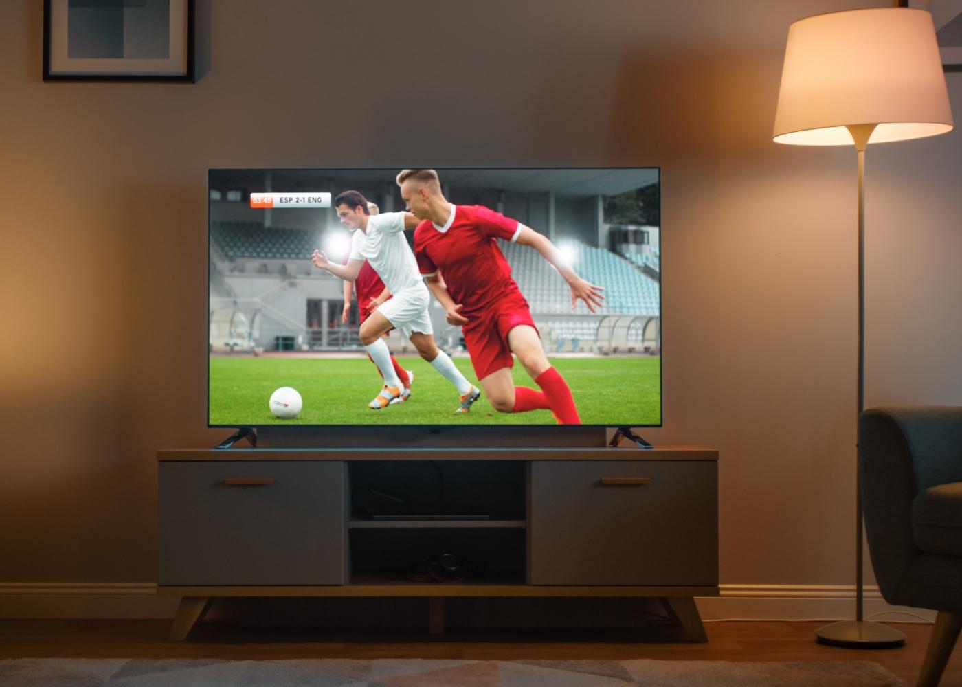 Televisão a dar futebol