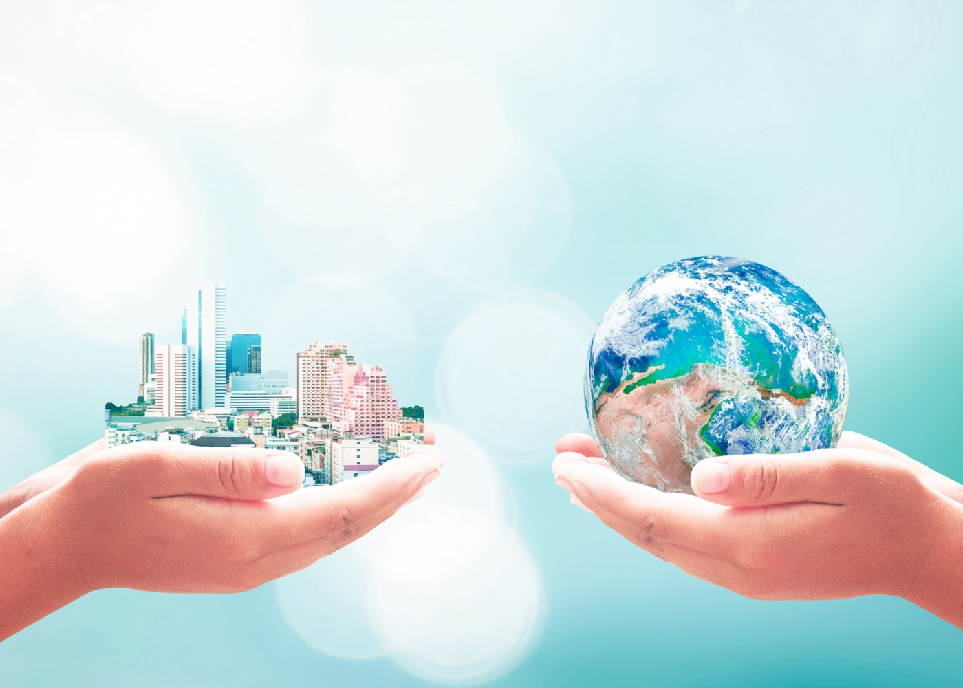 Ilustração de jovem a segurar planeta terra
